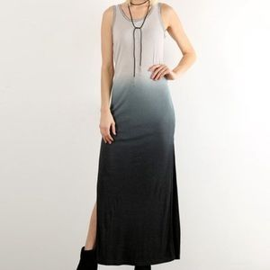 Hem & Thread Casual Ribbed Ombré Maxi Dress